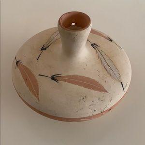Vintage New Mexico Pottery Pot Art Feathers